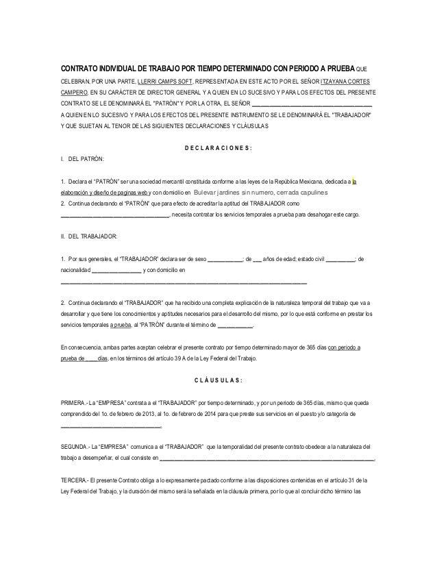 Contrato tiempo indefinido for Formato de contrato de trabajo indefinido