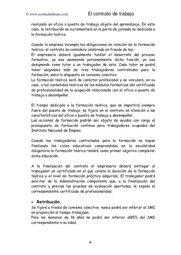 El contrato de trabajo Contrato trabajo