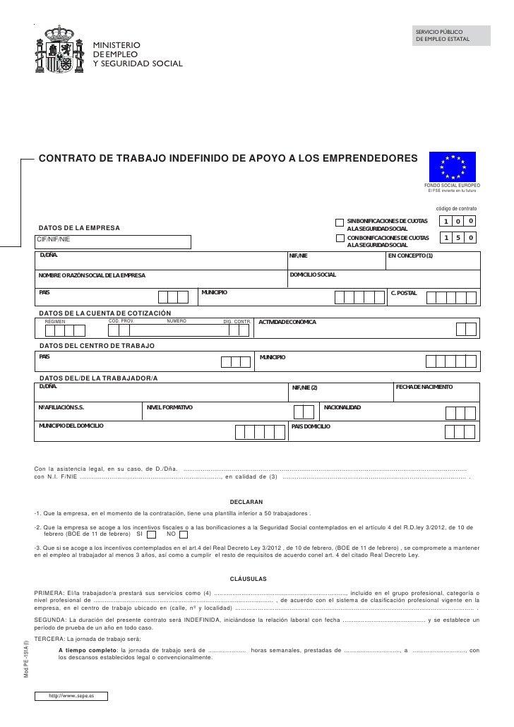 Contrato Trabajo Indefinido Apoyo Emprendedores