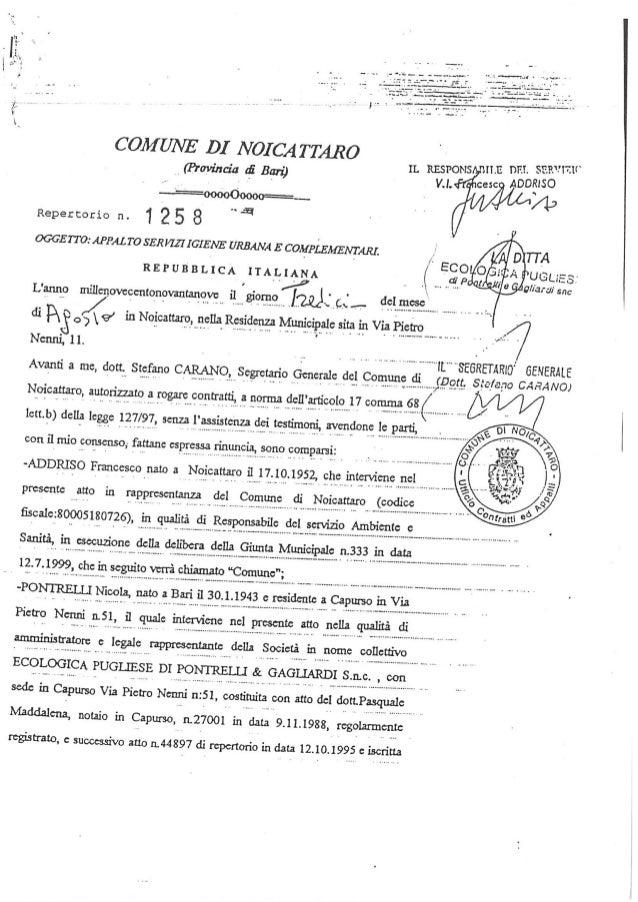 Contratto ecologica pugliese anno 1999