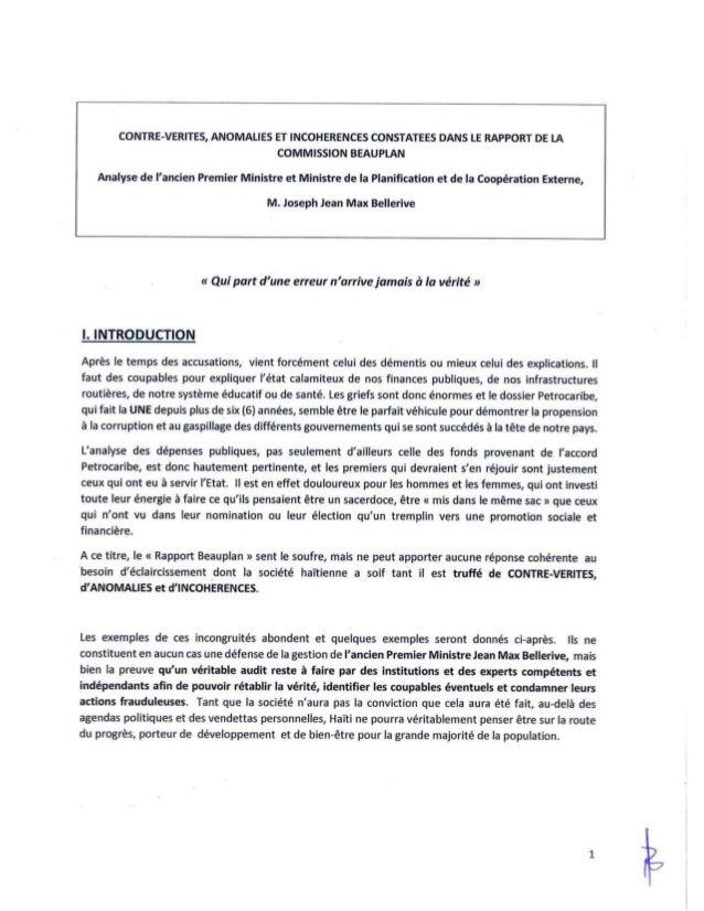 Contre verites anomalies  et incoherences  constatees dans le rapport de la commission beauplan 001