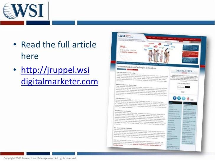 • Read the full article  here• http://jruppel.wsi  digitalmarketer.com