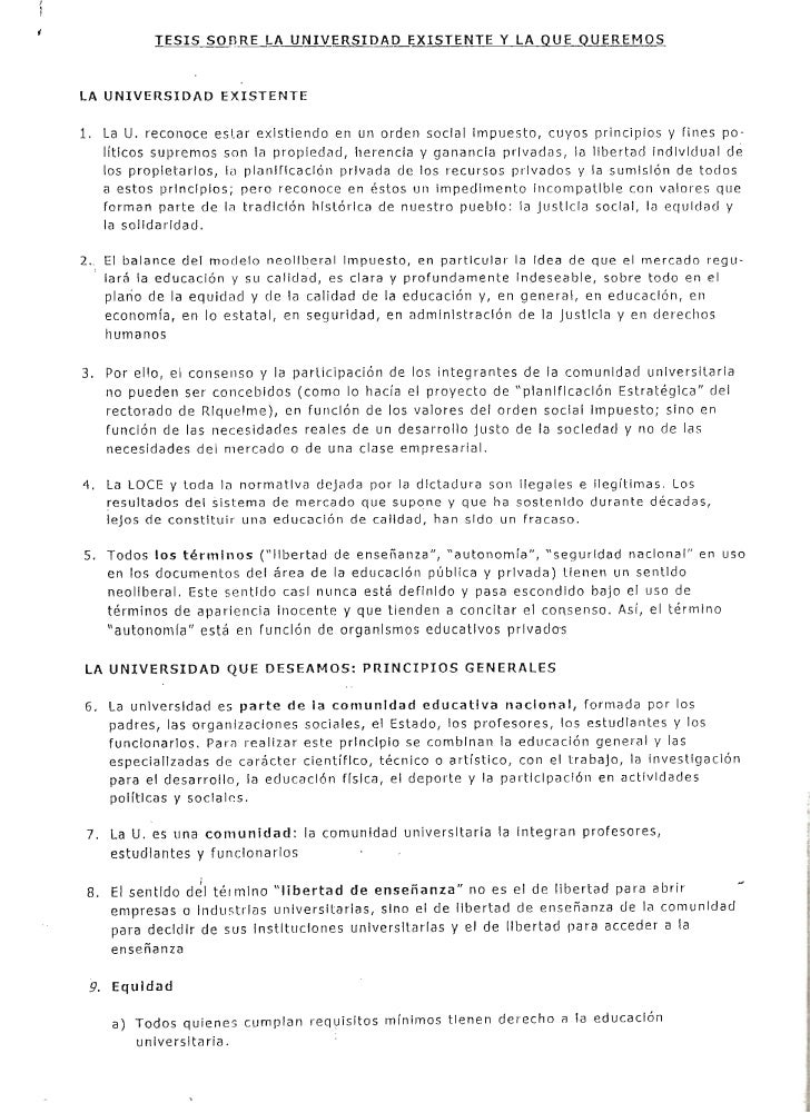 ,              TESIS SOnRE LA UNIVERSIDAD EXISTENTE Y LA QUE Q.!,!JREMQS    LA UNIVERSIDAD EXISTENTE    1. La U. reconoce ...