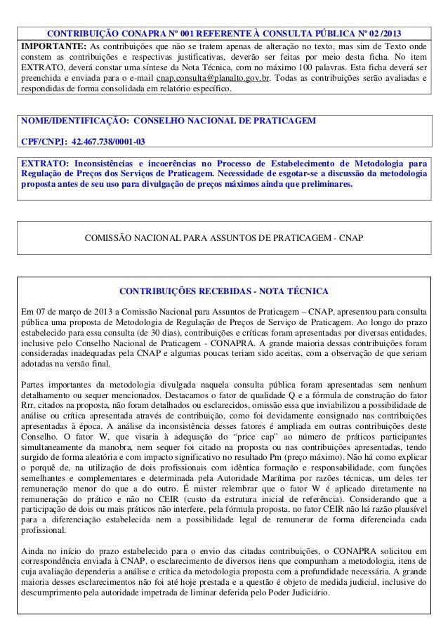 CONTRIBUIÇÃO CONAPRA Nº 001 REFERENTE À CONSULTA PÚBLICA Nº 02 /2013 IMPORTANTE: As contribuições que não se tratem apenas...