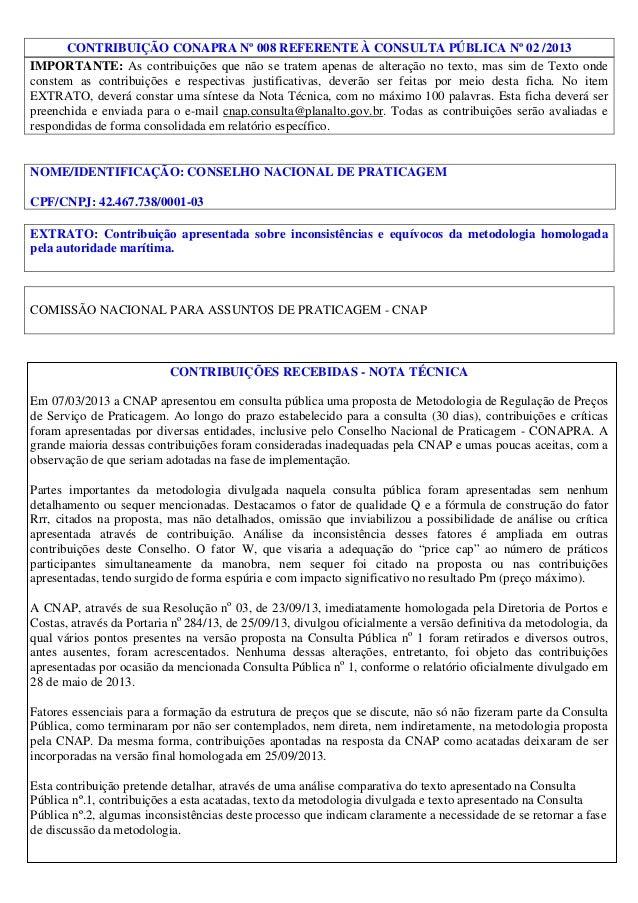 CONTRIBUIÇÃO CONAPRA Nº 008 REFERENTE À CONSULTA PÚBLICA Nº 02 /2013 IMPORTANTE: As contribuições que não se tratem apenas...