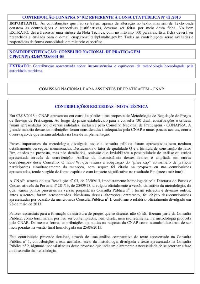 CONTRIBUIÇÃO CONAPRA Nº 012 REFERENTE À CONSULTA PÚBLICA Nº 02 /2013 IMPORTANTE: As contribuições que não se tratem apenas...
