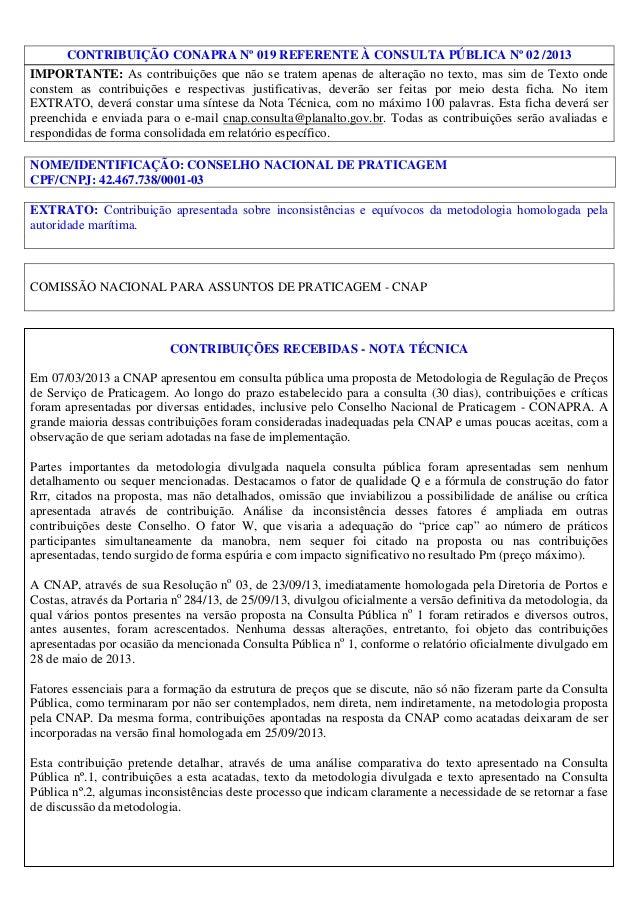 CONTRIBUIÇÃO CONAPRA Nº 019 REFERENTE À CONSULTA PÚBLICA Nº 02 /2013 IMPORTANTE: As contribuições que não se tratem apenas...