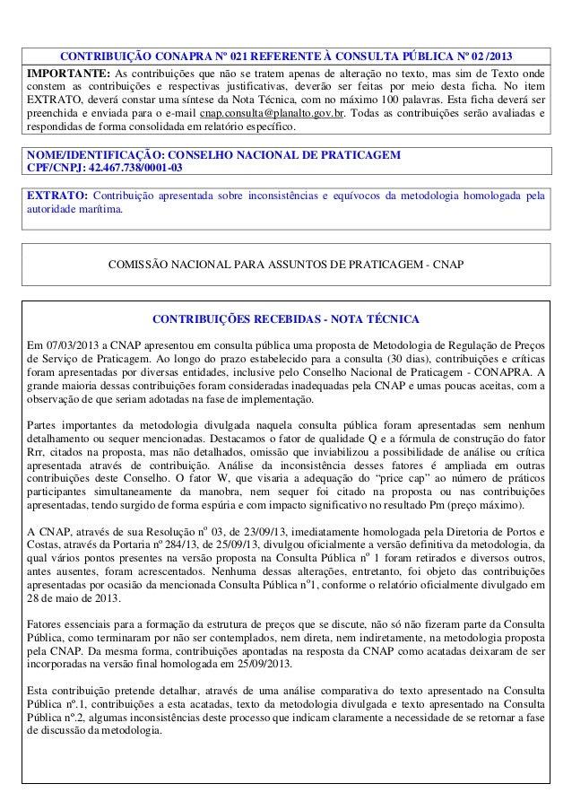CONTRIBUIÇÃO CONAPRA Nº 021 REFERENTE À CONSULTA PÚBLICA Nº 02 /2013 IMPORTANTE: As contribuições que não se tratem apenas...