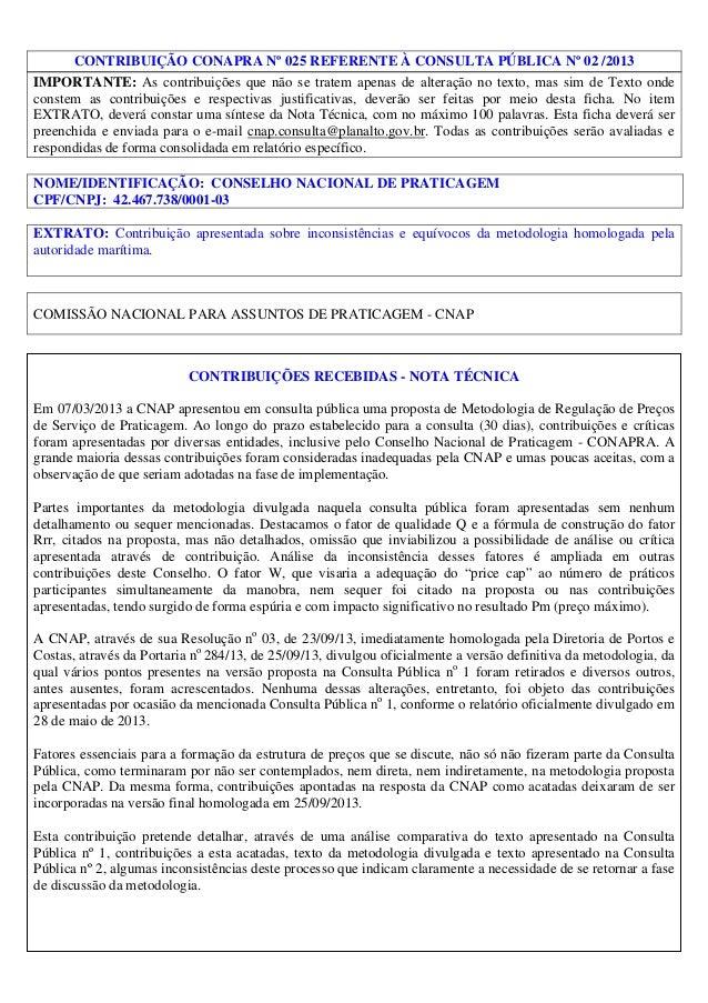 CONTRIBUIÇÃO CONAPRA Nº 025 REFERENTE À CONSULTA PÚBLICA Nº 02 /2013 IMPORTANTE: As contribuições que não se tratem apenas...