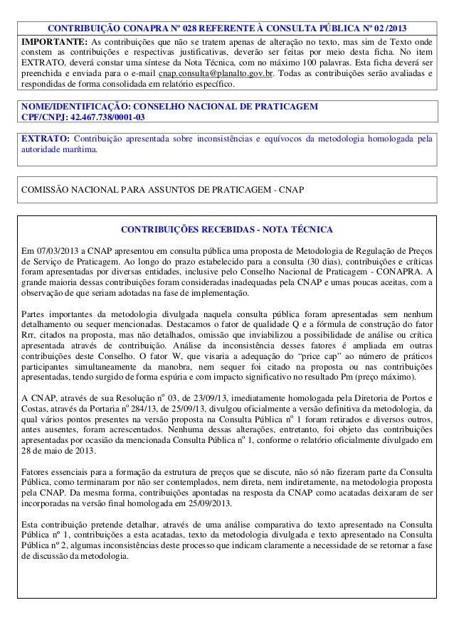 CONTRIBUIÇÃO CONAPRA Nº 028 REFERENTE À CONSULTA PÚBLICA Nº 02 /2013 IMPORTANTE: As contribuições que não se tratem apenas...