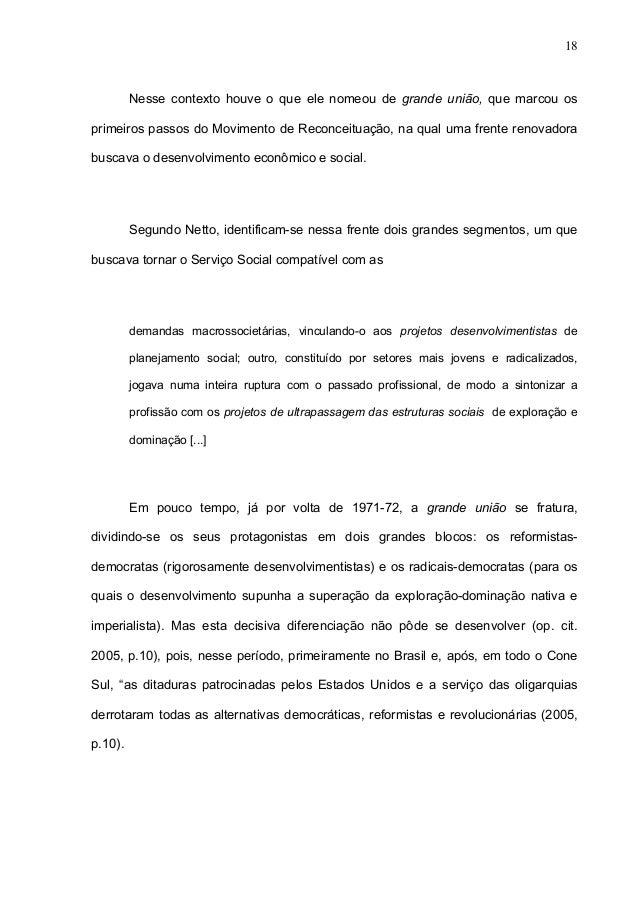 Movimento de reconceituação do serviço social na america latina 2