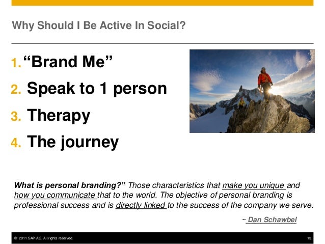"Why Should I Be Active In Social?1. ""Brand                             Me""2.     Speak to 1 person3.     Therapy4.     The..."