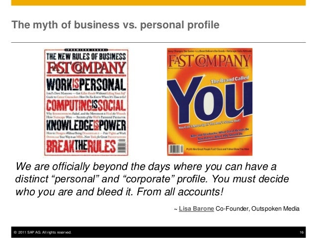 "The myth of business vs. personal profileWe are officially beyond the days where you can have adistinct ""personal"" and ""co..."