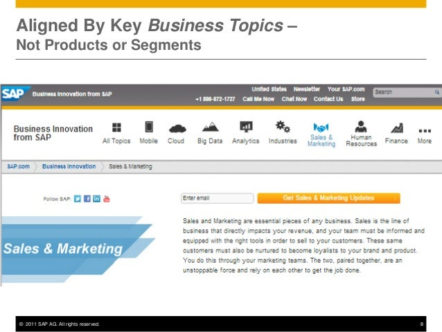 Aligned By Key Business Topics –Not Products or Segments© 2011 SAP AG. All rights reserved.   8