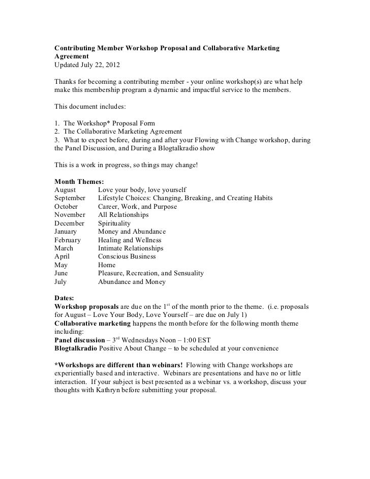 Contributing Member Workshop Proposal and Collaborative MarketingAgreementUpdated July 22, 2012Thanks for becoming a contr...