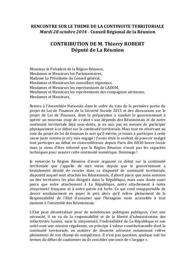 RENCONTRE  SUR  LE  THEME  DE  LA  CONTINUITE  TERRITORIALE  Mardi  28  octobre  2014  -‐  Conseil  Régional  de  la  Réu...