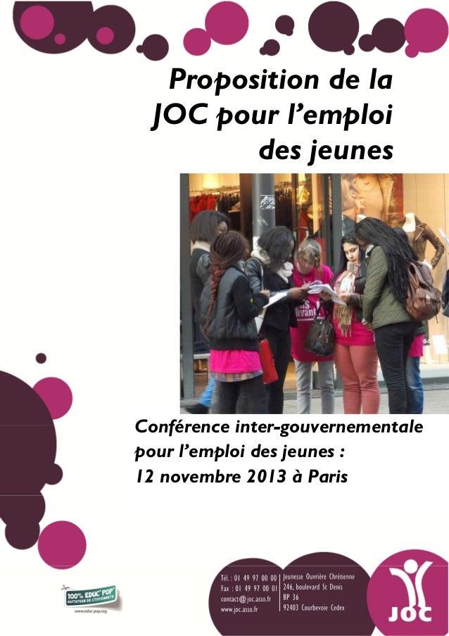 Proposition de la JOC pour l'emploi des jeunes  Conférence inter-gouvernementale pour l'emploi des jeunes : 12 novembre 20...