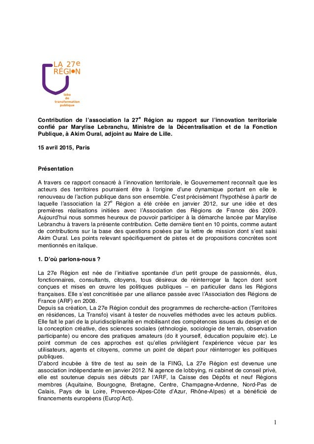 1 Contribution de l'association la 27e Région au rapport sur l'innovation territoriale confié par Marylise Lebranchu, Mini...
