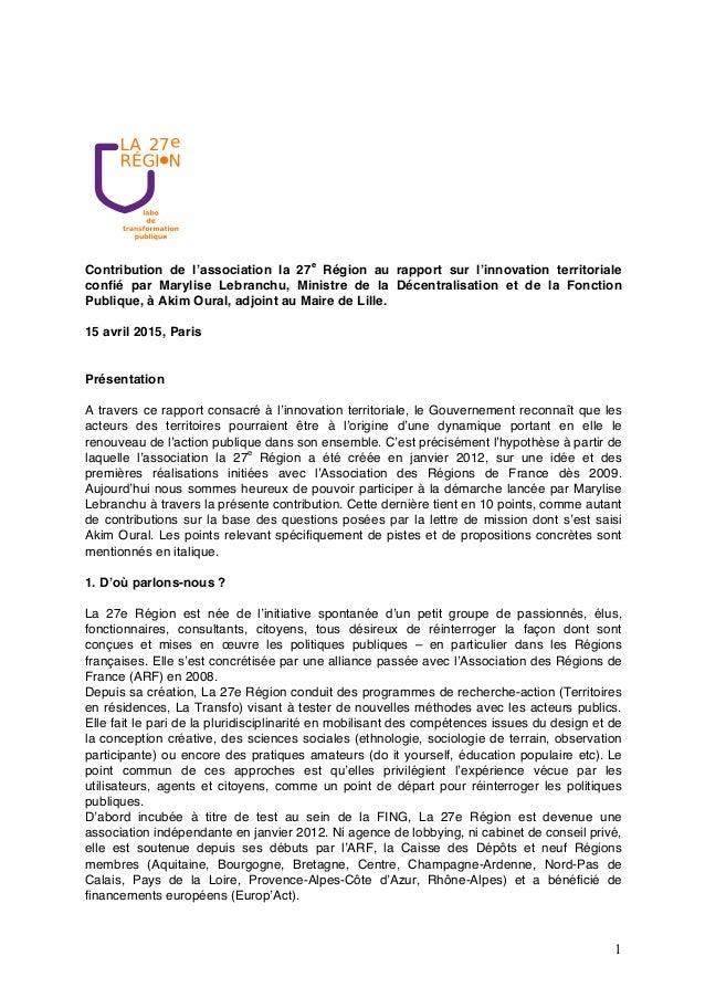 1 Contribution de l'association la 27e Région au rapport sur l'innovation territoriale confié par Marylise Lebranchu, Mini...