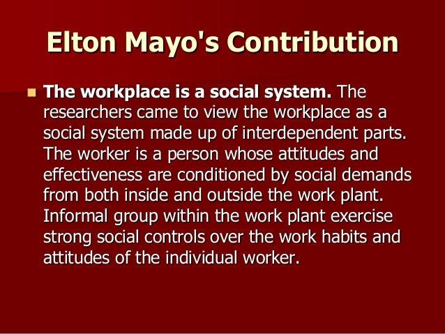 elton mayo contribution to management theory pdf