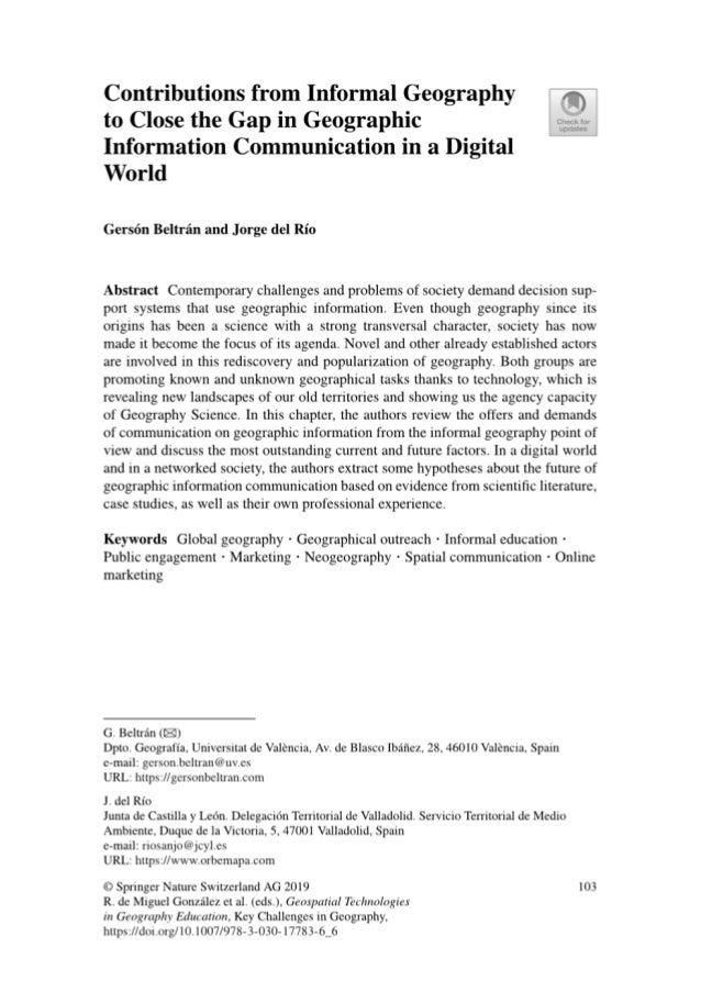 Contributions from informal geography to close the gap in geographic information communication in a digital world