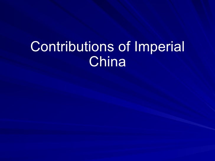 Contributions of Imperial China