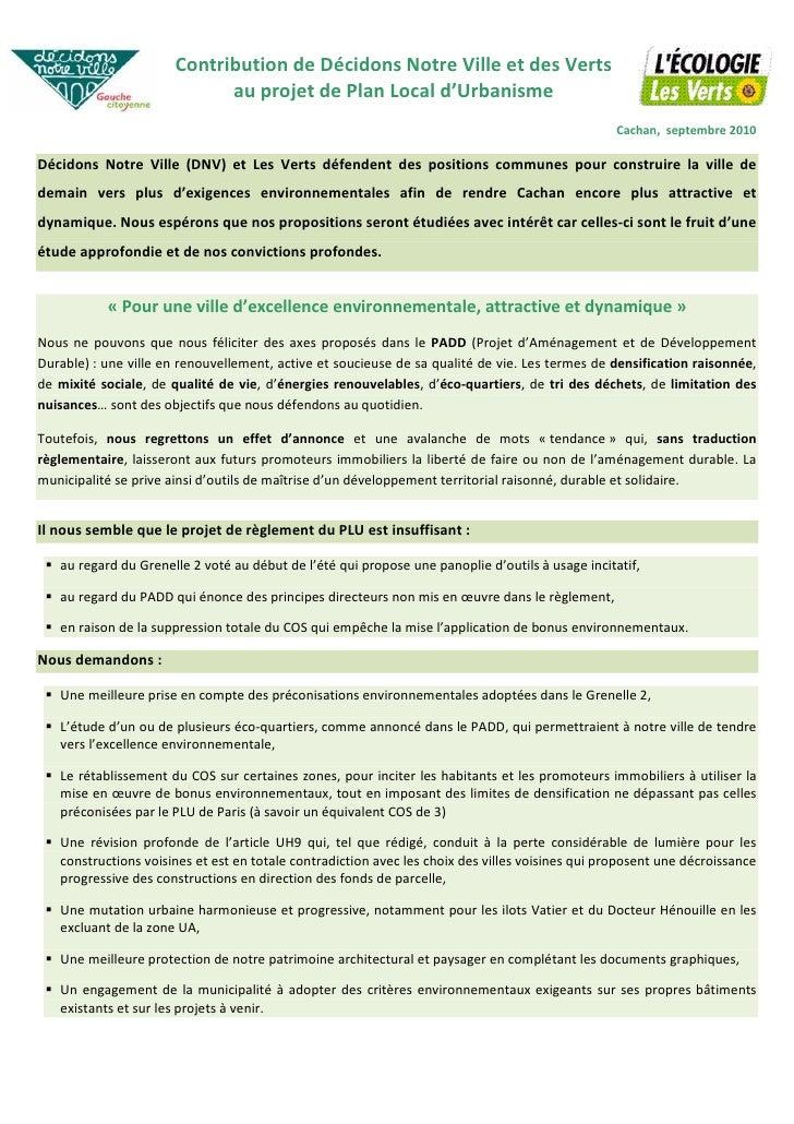 Contribution de Décidons Notre Ville et Notre Ville                            Développement proposé par Décidons des Vert...