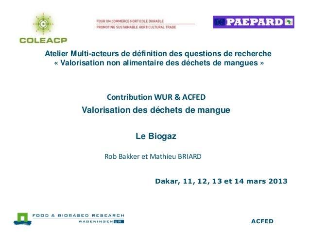 Atelier Multi-acteurs de définition des questions de recherche  « Valorisation non alimentaire des déchets de mangues »   ...