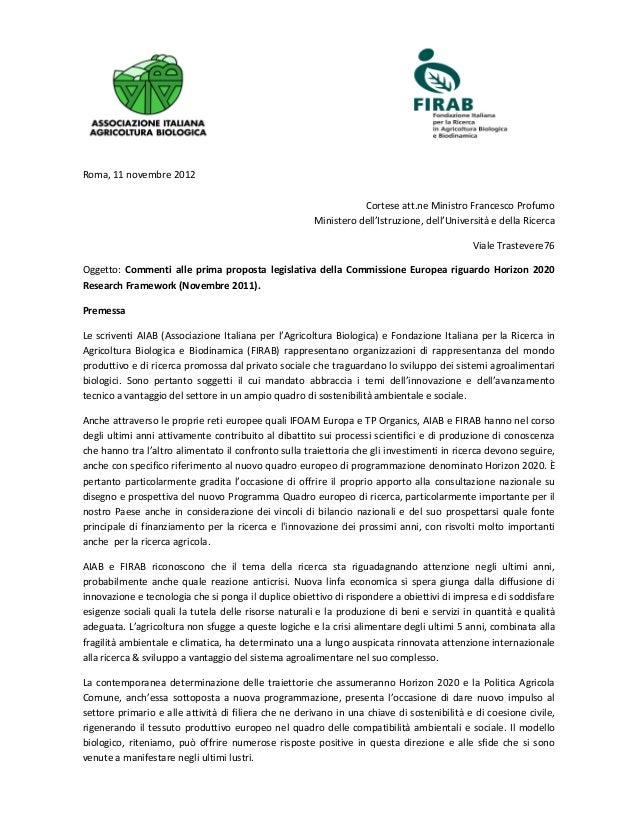 Roma, 11 novembre 2012Cortese att.ne Ministro Francesco ProfumoMinistero dell'Istruzione, dell'Università e della RicercaV...