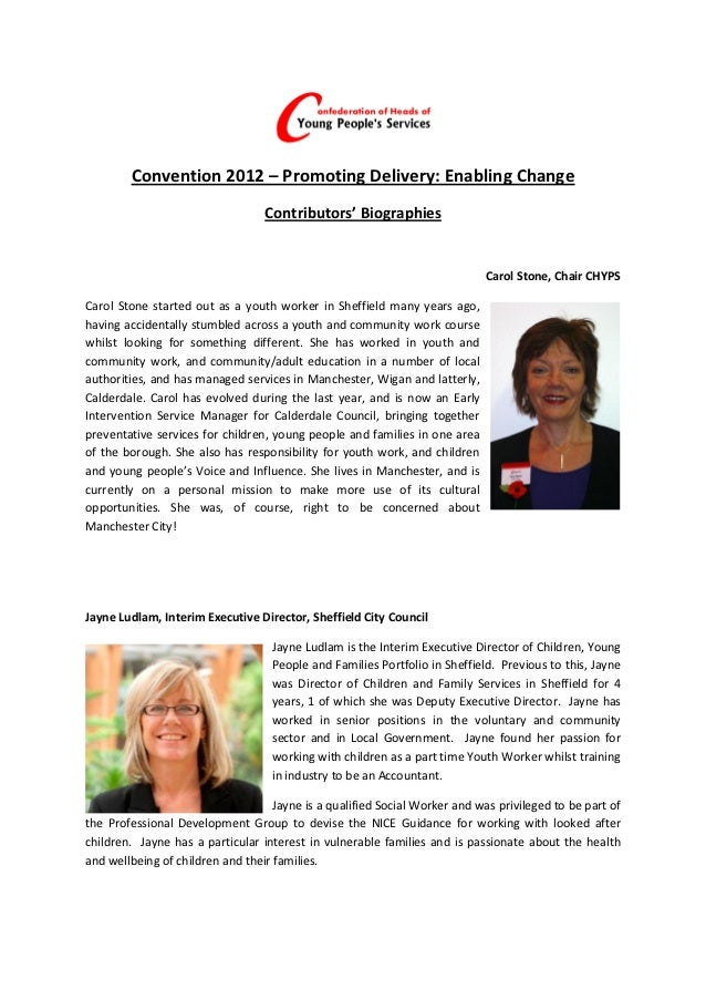 Convention 2012 – Promoting Delivery: Enabling Change                                  Contributors' Biographies          ...