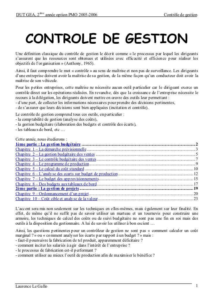 DUT GEA, 2ème année option PMO 2005-2006                                                                             Contr...