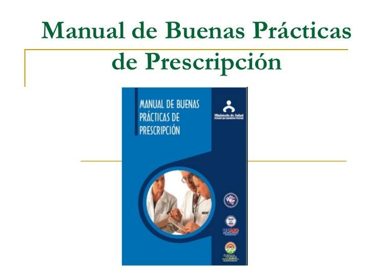Manual de Buenas Prácticas    de Prescripción