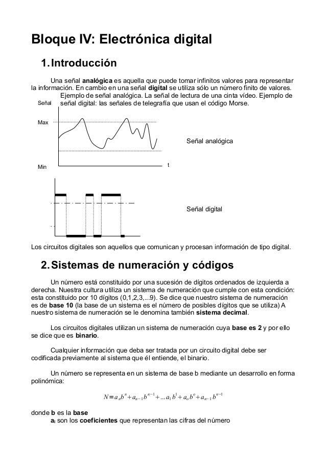 Bloque IV: Electrónica digital 1.Introducción Una señal analógica es aquella que puede tomar infinitos valores para repres...