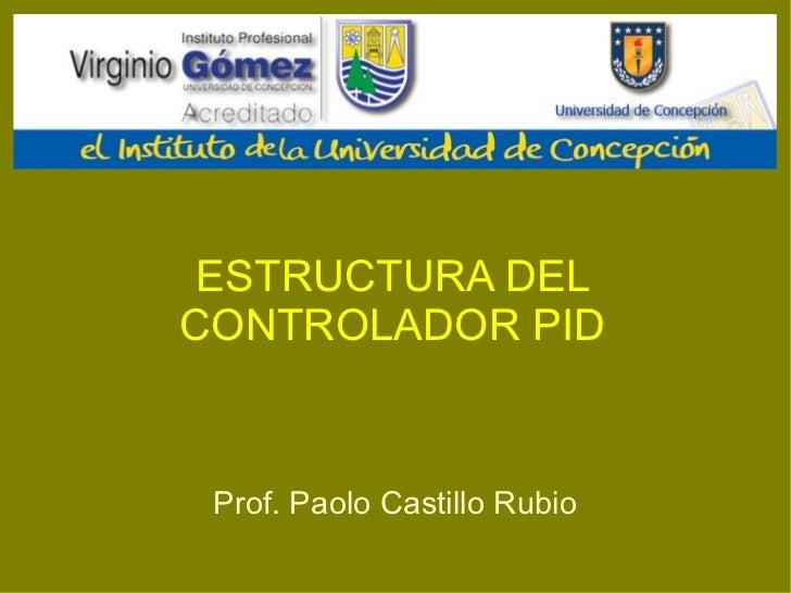 ESTRUCTURA DEL CONTROLADOR PID Prof. Paolo Castillo Rubio