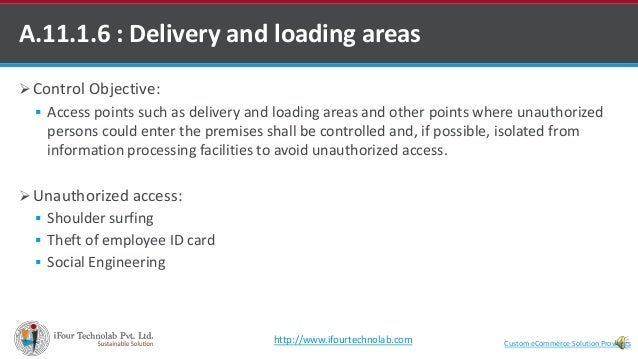 Control Objective:  Access points such as delivery and loading areas and other points where unauthorized persons could ...