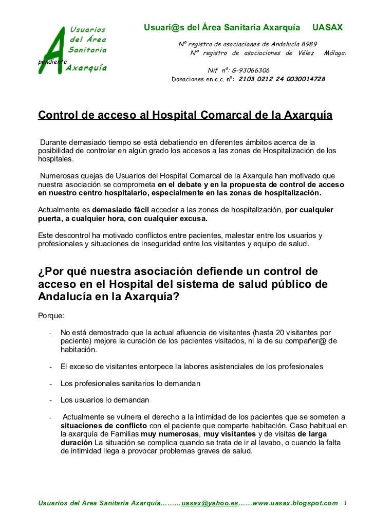 Usuari@s del Área Sanitaria Axarquía                 UASAX                                          Nº registro de asociac...