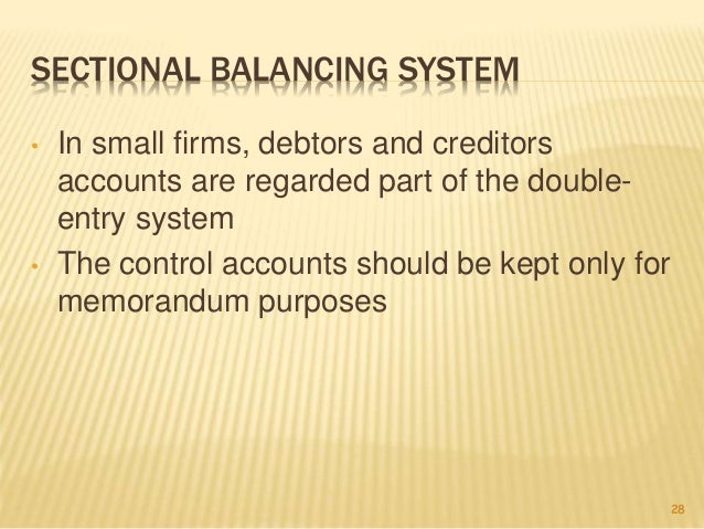 self and sectional balancing Financial accounting i is specially designed as an undergraduate textbook for the first year b com it then proceeds to describe the concepts of accounting for consignment, and for sales on approval basis, self-balancing and sectional balancing system.