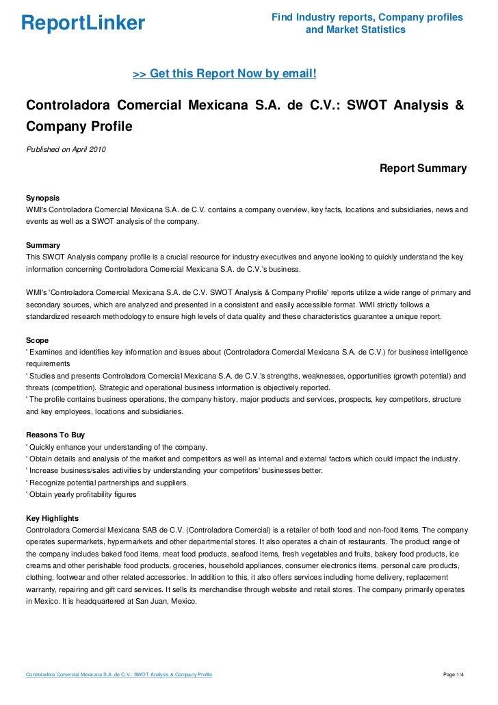 controladora comercial mexicana s a  de c v   swot analysis  u0026 company u2026