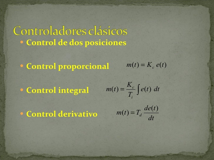 <ul><li>Control de dos posiciones </li></ul><ul><li>Control proporcional </li></ul><ul><li>Control integral </li></ul><ul>...