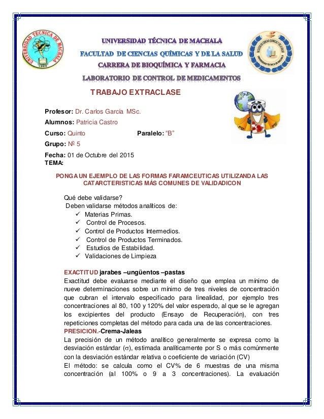 """TRABAJO EXTRACLASE Profesor: Dr. Carlos García MSc. Alumnos: Patricia Castro Curso: Quinto Paralelo: """"B"""" Grupo: N0 5 Fecha..."""