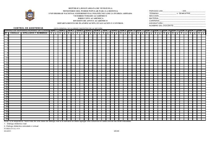 control de asistencia por semanal de alumnos  form eval 009