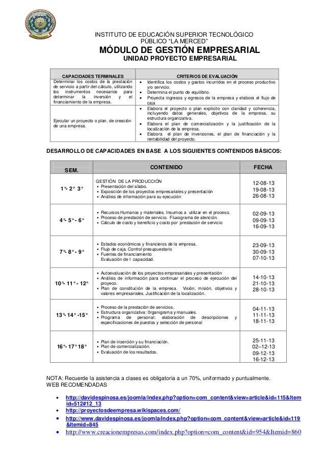 """INSTITUTO DE EDUCACIÓN SUPERIOR TECNOLÓGICO PÙBLICO """"LA MERCED"""" MÓDULO DE GESTIÓN EMPRESARIAL UNIDAD PROYECTO EMPRESARIAL ..."""