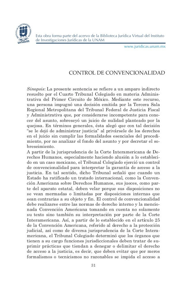 CONTROL DE CONVENCIONALIDADSinopsis: La presente sentencia se refiere a un amparo indirectoresuelto por el Cuarto Tribunal...
