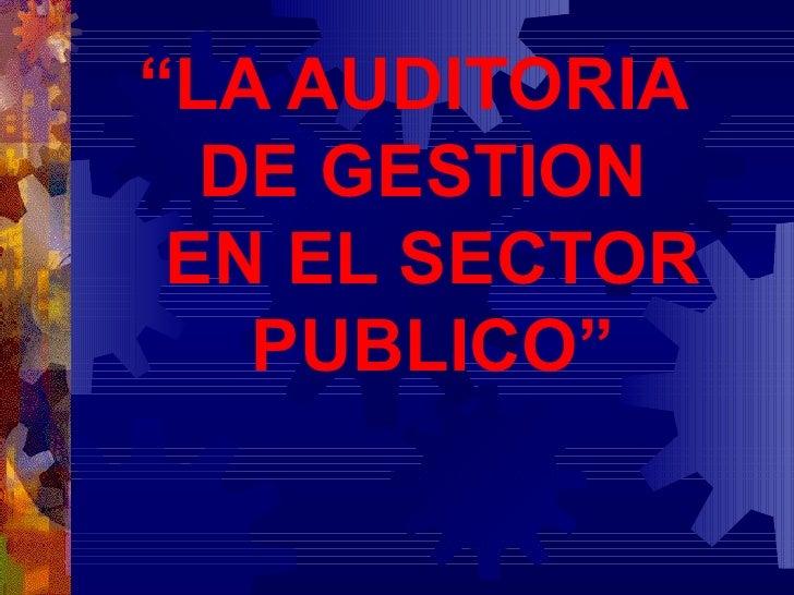 """"""" LA AUDITORIA  DE  G ESTION   EN EL SECTOR PUBLICO"""""""