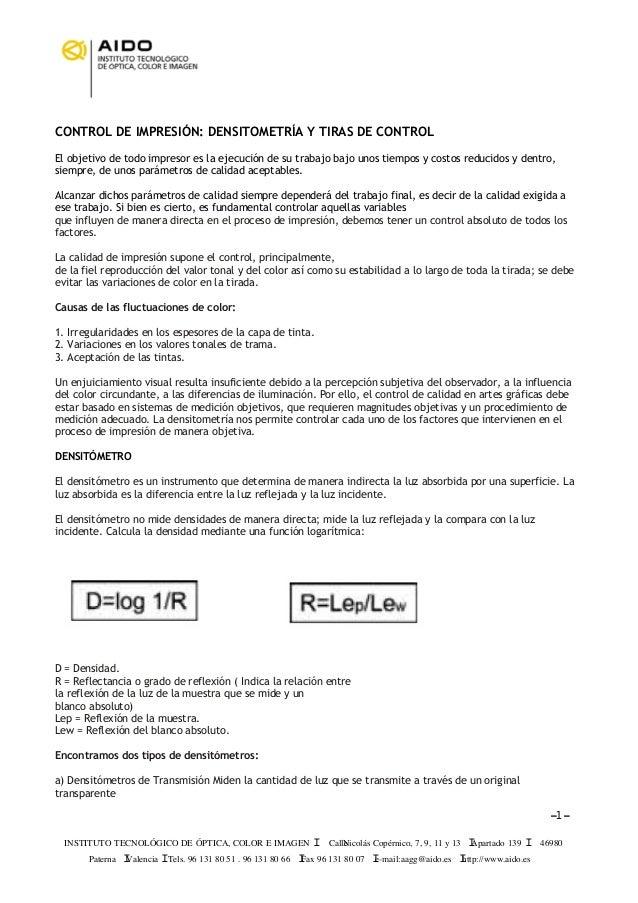 INSTITUTO TECNOLÓGICO DE ÓPTICA, COLOR E IMAGEN I CalleNicolás Copérnico, 7, 9, 11 y 13 IApartado 139 I 46980 Paterna IVal...