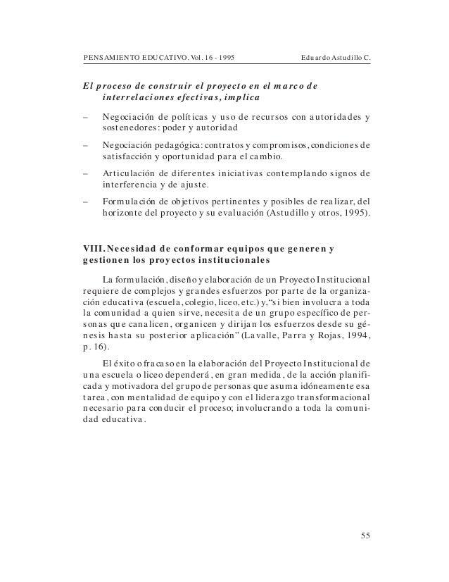 PENSAMIENTO EDUCATIVO. Vol. 16 - 1995 Eduardo Astudillo C.55El proceso d e construir el proyecto en el m a rco d einterrel...