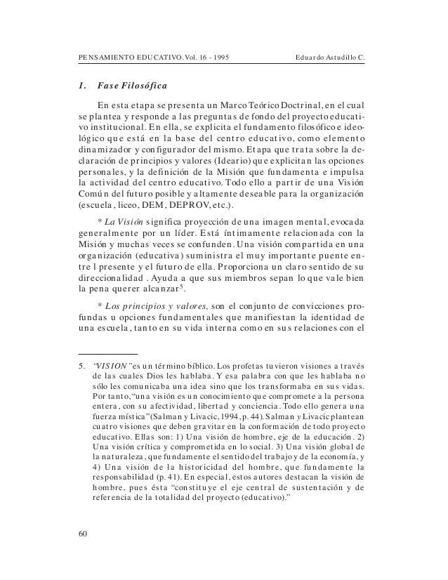 PENSAMIENTO EDUCATIVO. Vol. 16 - 1995 Eduardo Astudillo C.601. Fa se FilosóficaEn esta etapa se presenta un Marco Teórico ...
