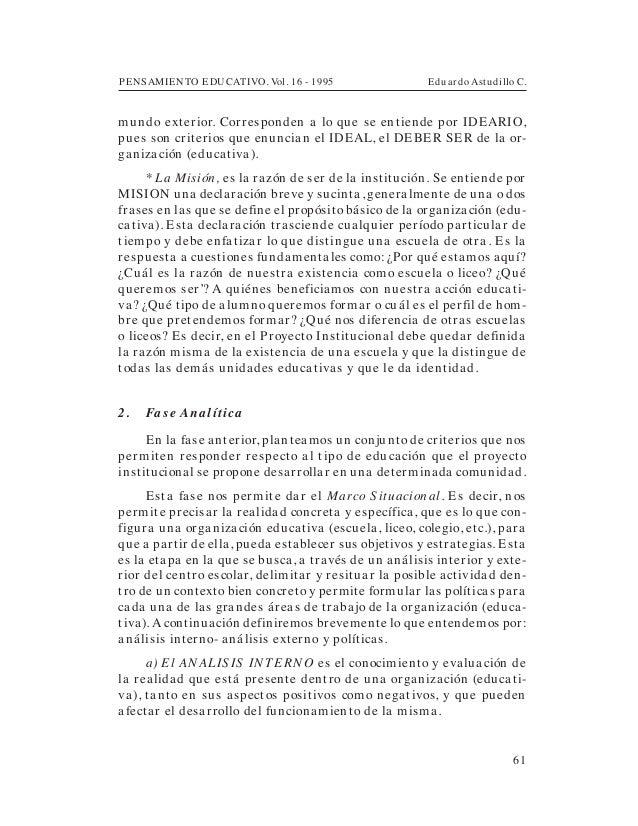 PENSAMIENTO EDUCATIVO. Vol. 16 - 1995 Eduardo Astudillo C.61mundo exterior. Corresponden a lo que se entiende por IDEARIO,...