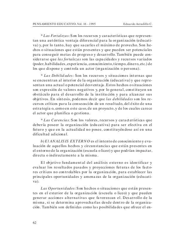 PENSAMIENTO EDUCATIVO. Vol. 16 - 1995 Eduardo Astudillo C.62* Las Fortalezas:Son los recursos y características que repres...