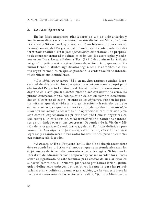 PENSAMIENTO EDUCATIVO. Vol. 16 - 1995 Eduardo Astudillo C.643. La Fa se Opera tivaEn las fases anteriores, planteamos un c...